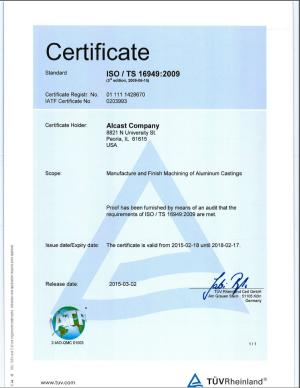 Alcast TS16949 Quality certification